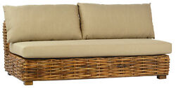 Outdoor Patio Sofa Furniture Daybed wFoam Cushions Wicker Rattan63''L x 21''H.