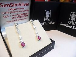 New Design Exclusive 925 Sterling Silver Natural Ruby Earrings for women
