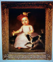 Charming 18th C Portrait Painting of a Girl with her Dog dated 1763