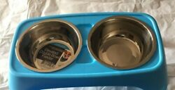 2 Elevated Double Bowl Pet Feeders BLUE $14.99