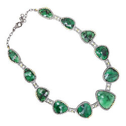14k Gold Gemstone EMERALD Necklace Pave 11.31 Ct Diamond Sterling Silver Jewelry