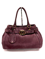 GUCCI Light-Burgundy Pebbled Suede Gold Logo Buckled Strap Hand Bag Purse