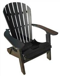 Phat Tommy Recycled Poly Resin Folding Deluxe Adirondack Chair in Bla [ID 89305]