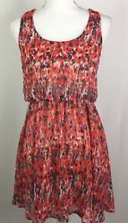LUSH Dress Small Red Purple Abstract Print Cinched Waist Sleeveless Scoop Neck $11.99