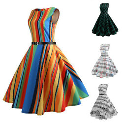 Womens Lady 1950s Sleeveless Retro Tea Swing Dress Evening Party Cocktail Dress