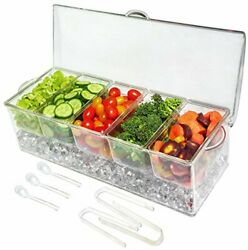 Ice Chilled 5 Compartment Condiment Server Caddy Serving Tray Container