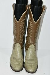 VINTAGE NOCONA WOMENS 7.5 B BROWN GRAY EXOTIC LEATHER ROUND TOE COWBOY BOOTS
