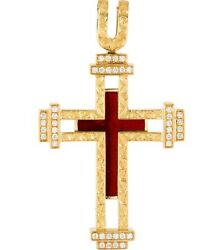 Faberge 18K Gold Red Enamel & Diamond Cross Pendant Limited. OCT SPECIAL 20% OFF
