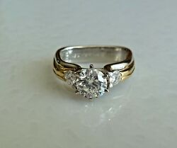 PLATINUM AND 18K GOLD ENGAGEMENT DIAMOND  RING 1.01 CENTER  VERY NICE