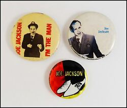 Joe Jackson 3 80's Original Buttons Badges  Look Sharp  I'm The Man  Prism