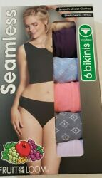 Fruit of the Loom Women#x27;s 6 Pack Seamless Bikinis Size 6 NEW Medium $13.99