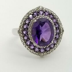 PJC 925 Sterling Silver 10mm Purple Amethyst & White Topaz Oval Band Ring Size 7