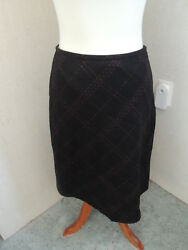 ANN TAYLOR LOFT Pencil Skirt Long Lined Black with Red Design Wool Size 6 $10.00