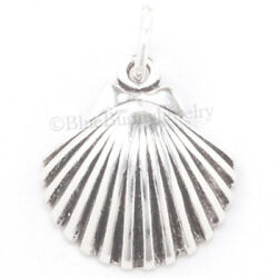SEA SHELL Charm scallop shell Pendant Seashell Beach Sterling Silver 3D 925