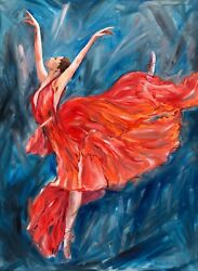 original oil painting Girl women female ballerina ballet dancer ballet dancer
