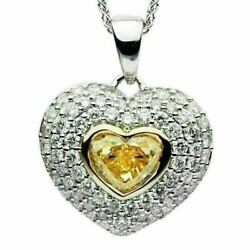 ESTATE LARGE 1.96CT WHITE & FANCY YELLOW DIAMOND 18KT 2 TONE GOLD HEART PENDANT