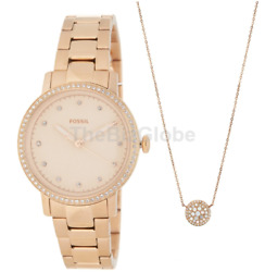 Fossil Neely ES4330SET Women's Rose Gold-Tone Watch and Jewelry Box Set
