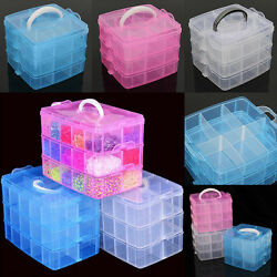 Plastic Clear Jewelry Bead Organizer Box Storage Container Case Craft Tool US