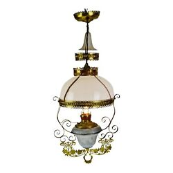 Antique Victorian Hanging Electrified Oil Lamp with Frosted Glass Smoke Bell $1295.00