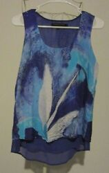 Robert Kitchen Canada Abstract Watercolor Semi Sheer Lined Hi Lo Tunic Top Sze S $6.99