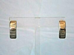 NEW WITH TAGS JORDACHE WIDE SILVER TONE HALF HOOP PIERCED EARRINGS