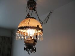 Antique Hanging Brass Oil Lamp Hand Painted Chandelier $199.00