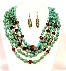 Faux Turquoise & Faceted Topaz Crystal Beads Multi Strand Necklace Set Silver