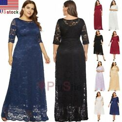 US Plus Size Women Maxi Cocktail Party Wedding Evening Formal Lace Long Dresses