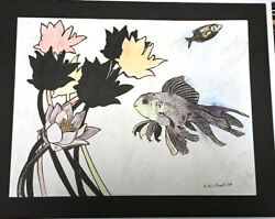 Flowing Fish swimming underwater with plants flowers by NY Artist ink drawing $15.99