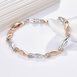 Topaz Crystal 18K Yellow Gold Filled Dashing Twist Style Bracelet Link Chain