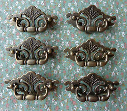 Set of 6 New Continental Brass Antique Brass Wheat Drawer Swing Pulls 3quot; Centers $15.00