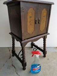 Antique smokers cabinet Vtg lamp side end table Nightstand Smoke stand humidor