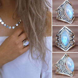 Hot Gemstone Moonstone cabochon Boho Engagement Ring Jewelry Vintage Accessories