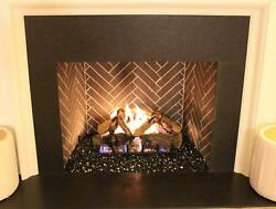 Exotic Fire Glass Black Reflective 14 Inch 25lb Pail Fireplace SHIPS FREE!!!