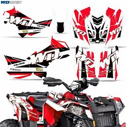 Decal Graphic Kit Polaris Scrambler 8501000 XP ATV Quad Wrap Deco 13-16 WD RED