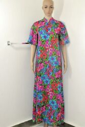 Vintage Hippie Neon Mumu Psychodelic Floral House Dress Gown by Ter-She ML