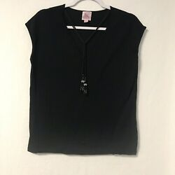 Women#x27;s Pink Poodle Size XL Blouse Black Sleeveless Casual Clothes $4.60