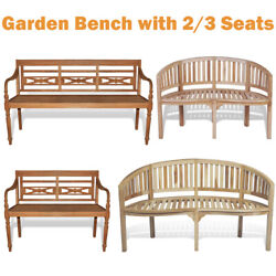 Modern Porch Garden Park Chair Patio Bench With Armrests 23 Seats Teak Wood UK