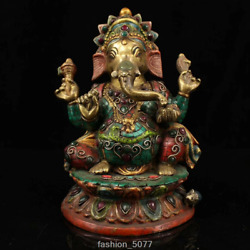 ANCIENT NEPALESE CLOISONNE HAND-INLAID JEWELERY PAINTING GOLD ELEPHANT