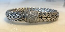 John Hardy Classic Chain Silver Bracelet 10.5 mm With Diamond Clasp MSRP 2795.00