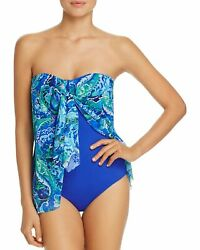 Lauren Ralph Lauren Womens Exotic Flyaway One Piece Swimsuit 8 Blue
