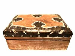 Vintage Wooden Hinged Trinket Box Chest Decorative Metal Trim 6 x 4 inches $38.00