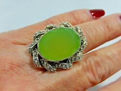 MASSIVE NICKY BUTLER 925 STERLING SILVER HUGE 15.5ct GREEN CHALCEDONY RING S6