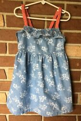 Gymboree Tropical Breeze Girls 5 Denim Floral Ruffle Dress Sleeveless