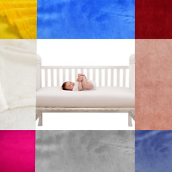 BABY TODDLER CRIB NURSERY WARM SMALL BED BLANKET REVERSIBLE THROW SOLID COLOR $10.20