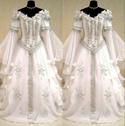 Medieval Victorian Gothic Wedding Dresses Off Shoulder Long Sleeve Bridal Gown