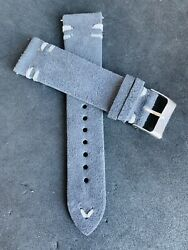 20mm DARK GRAY Handmade Double Vintage Suede Leather watch band strap $21.99