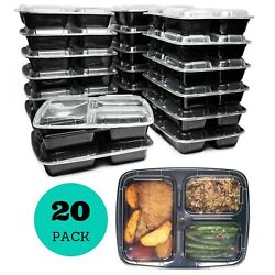 Meal Prep Containers (20 Pack) 3 Compartments 32 oz Food Storage Bento Box
