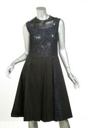 PRADA Navy Black Lace Trimmed Sleeveless Pleated Fit & Flare Dress 844 NEW $356.00