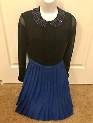 Jessica Simpson Holiday Cocktail Chiffon Long Sleeve Short Career Dress Size 0 $9.99